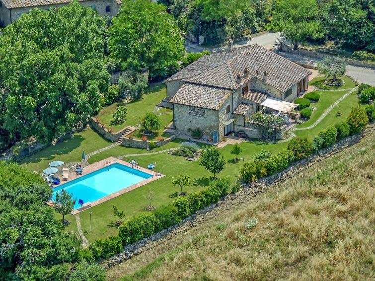 Drone overhead shot of Italian Villa