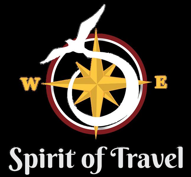 Spirit of Travels logo of a bird flying around a compass
