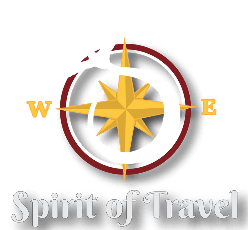 Spirit of Travels logo of a bird flying around a compass